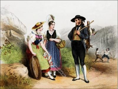Schwyz, Lucerne, Costumi nazionali svizzeri, Switzerland National Costumes, Suisse Costumes nationaux,