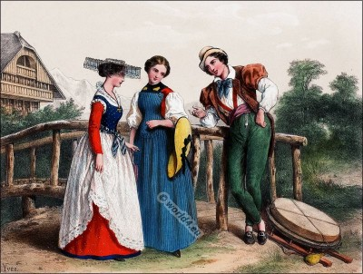 Traditional Switzerland national costumes. Swiss folk dresses. Clothing from Canton of Fribourg