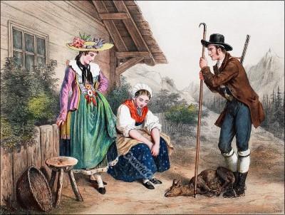 Switzerland national costumes, Zug, Glaris, Valais
