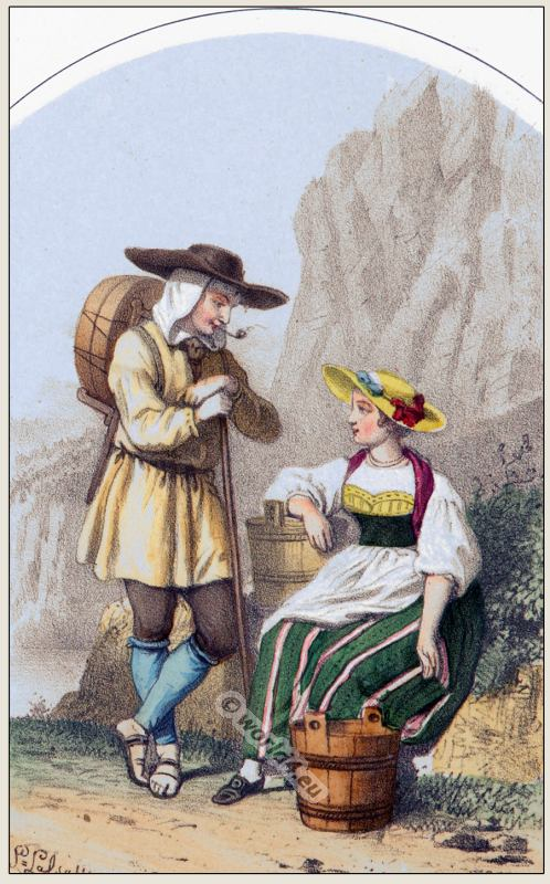 Traditional Switzerland national costumes. Swiss folk dresses. Clothing from the Canton of Uri