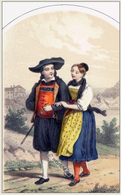 Traditional Switzerland national costumes. Swiss folk dresses. Clothing from Canton of Schaffhausen