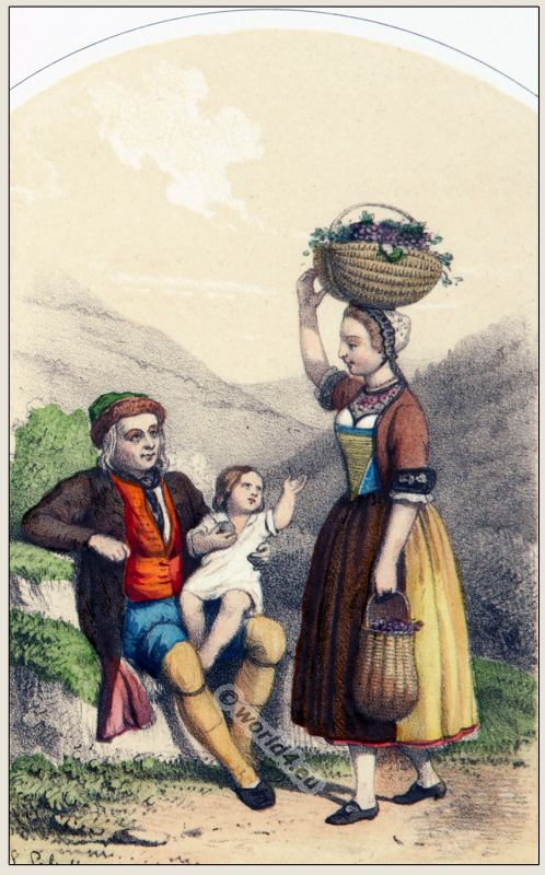 Traditional Switzerland national costumes. Swiss folk dresses. Clothing from the Canton of Thurgovie.