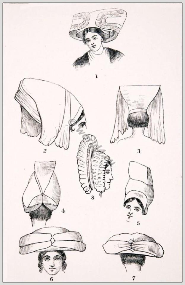 Traditional French Headdresses from La Rochelle, La Vendee, Poitou