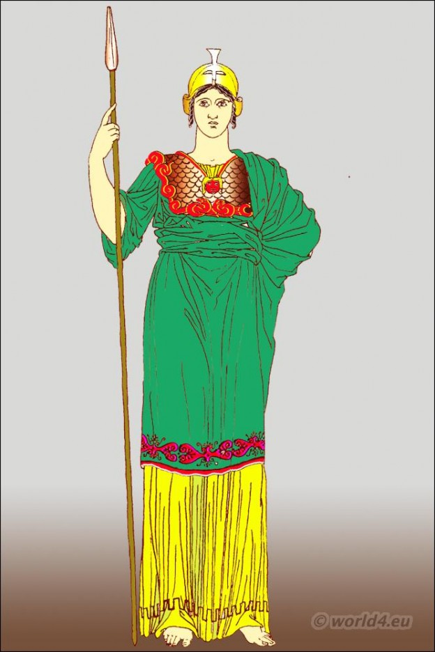 Ancient, Greek, statue, Pallas, Athena, peplos, himation