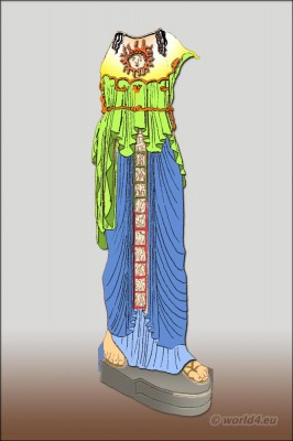 Greece, Statue,  Athene, chiton, peplos,  diploidion, Amalthea, ancient, clothing,