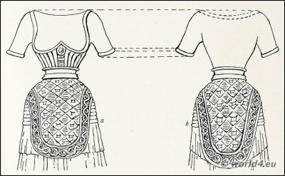 Ancient Minoan Goddess Costumes. Corset, male loin. Knossos, Crete Figurine, sculpture