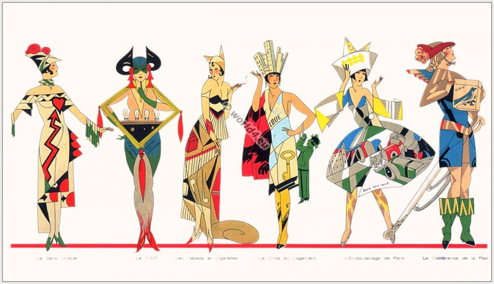 French Art deco Costumes. 1920s fashion. Fantasie Carneval costume.
