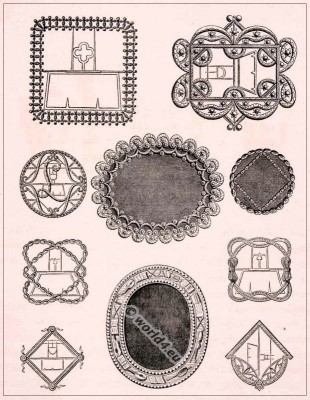 Rococo shoe buckles, Shoe design 18th century. Encyclopédie Denis diderot.