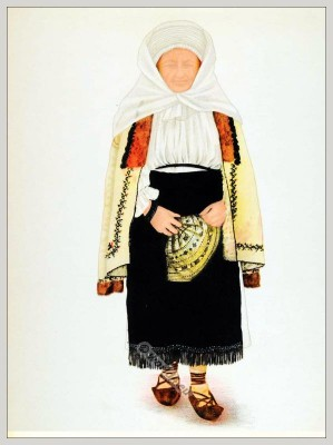 Romanian Poiana Sibiului folk costume. Romania national costumes. Traditional embroidery patterns