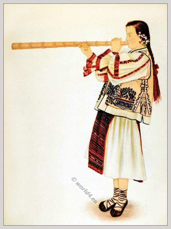 Romanian Turda folk costume. Romania Transylvania national costumes. Traditional embroidery patterns