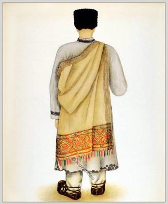 Romanian Hateg District folk costume. Romania Transylvania national costumes. Traditional embroidery patterns