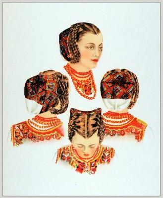 Romanian Hairstyles Hundiedoara. Romania Transylvania national costumes. Traditional embroidery patterns