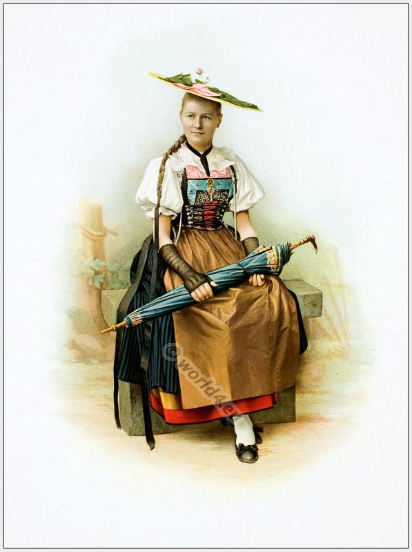 Traditional Switzerland national costumes. Swiss folk dresses. Clothing from the Canton of Argau.