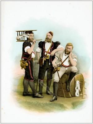Herdsmen Costume. Traditional Switzerland costumes. Swiss folk dress Sennen Canton of Fribourg