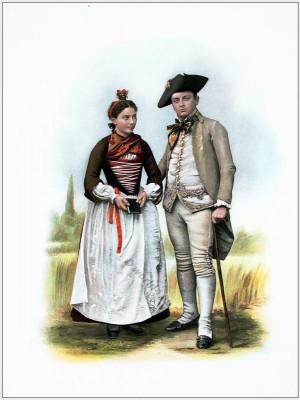 Traditional Switzerland costume. Swiss folk costume. Clothing Canton of Valais
