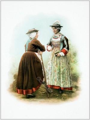 Traditional Switzerland costumes. Canton of Valais Val d' Hérens folk dresses