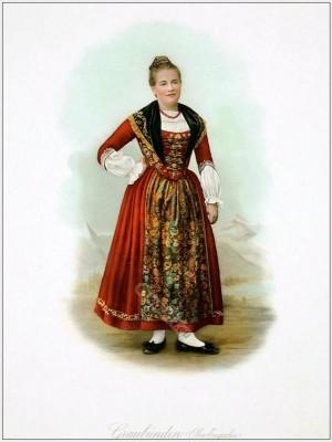 Grisons Upper Engadine. Suisse costumes nationaux. Costumes suisses. Switzerland national costumes.