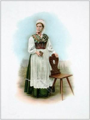 Grisons, Vorderrheintalerin, Suisse costumes nationaux. Costumes suisses. Switzerland national costumes.