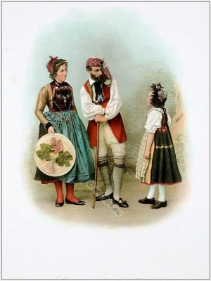 Lucerne Entlebuch, Suisse costumes nationaux. Costumes suisses. Switzerland national costumes.