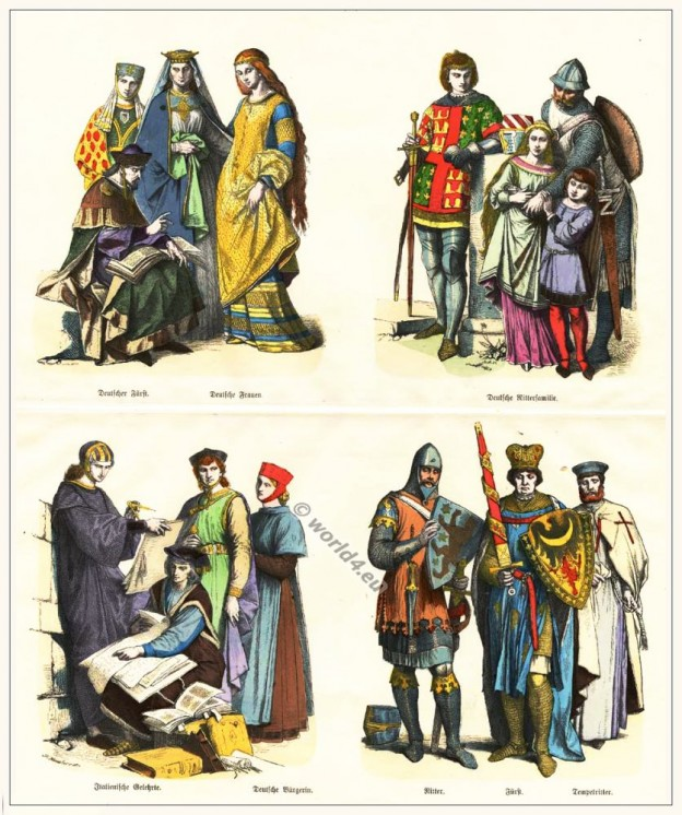costumes, italy, germany, princes, Knights, crusader, scholars, citizens, middle ages,