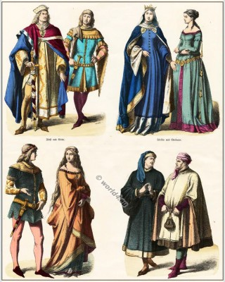 German medieval clothing. 14th century. Gothic costumes. Burgundian, Burgundy