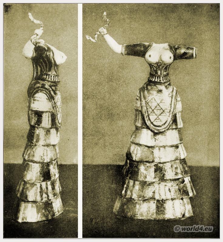 Ancient Greece figure. Minoan Snake Goddess Costume, Knossos, Crete. Sir Arthur Evans
