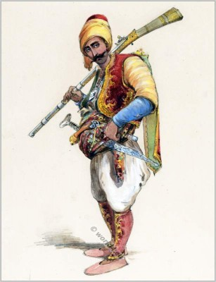 Turk soldier with gun and sword. Traditional Albanian dress. Amedeo Preziosi