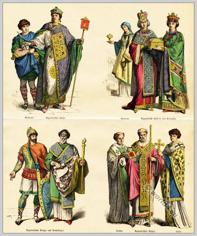 Fashion, costumes, Byzantine Empire. Dresses noble boy, Byzantine Emperor, Empress Princess, Warrior, Chancellor, Bishop, Christian Levite.