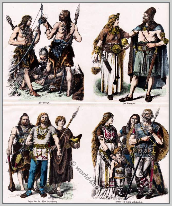 Ancient, Teutons, costumes, clothing, Germany, fashion history