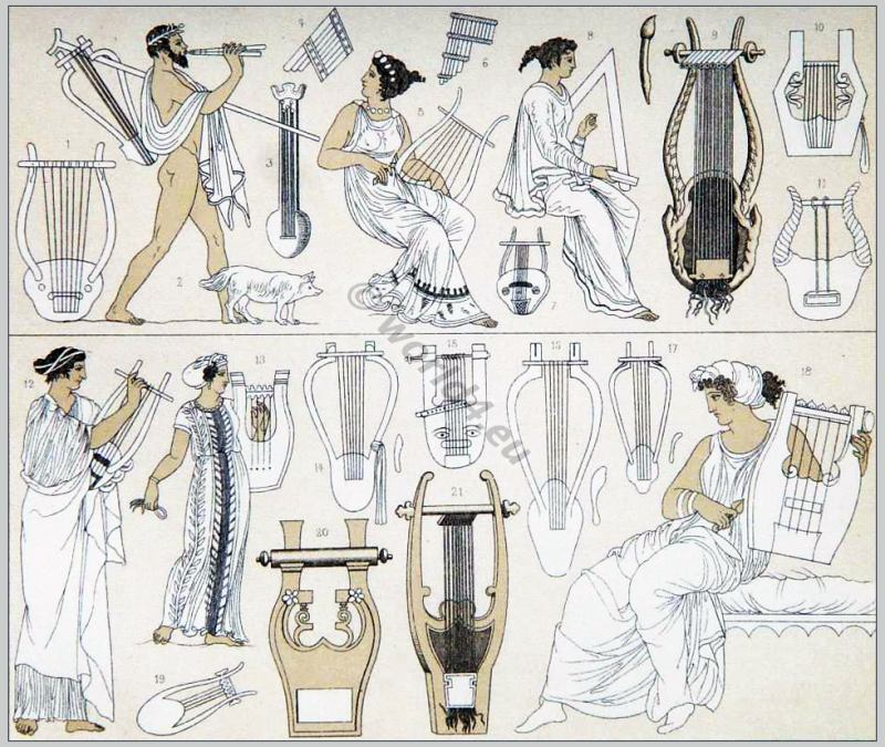 Ancient Greece musicians and instruments. Le Costume Historique. Auguste Racinet.
