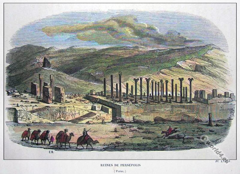 Ancient Persian Architecture. Persepolis Capital of Persia. Majestic Persian Empire. World Heritage site.