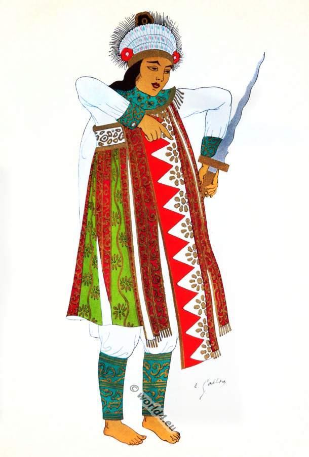 Bali national costume. Baris traditional war dance costume.