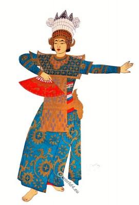 Bali national costume. Legong dance clothing. Indonesian national costume