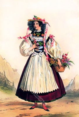Switzerland national costume, Female from Berne in traditional clothing