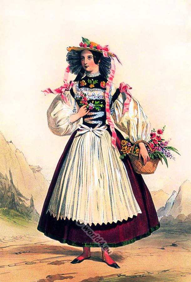 Traditional Switzerland national costumes. Swiss folk dresses. Bouquetière Clothing from Canton of Bern