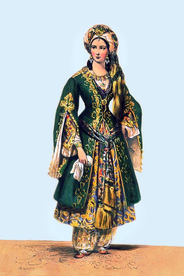 Oriental costume idea. French theater costume. Élisa Rachel Félix. Bajazet by Racine