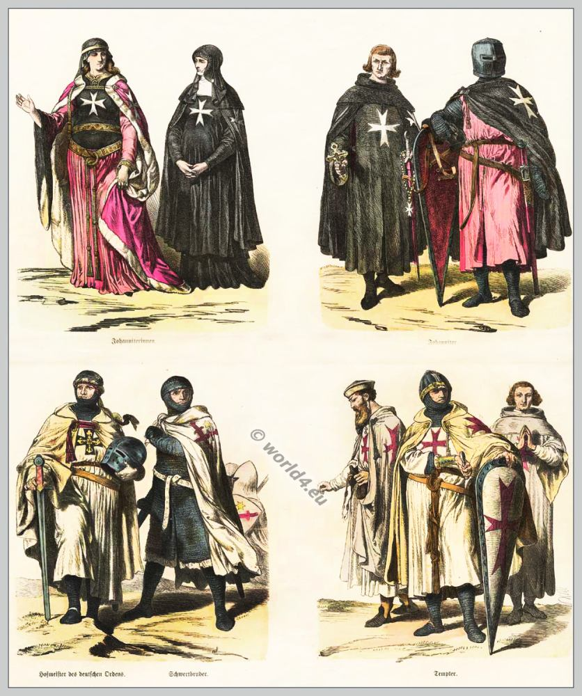Middle ages, Crusaders, Outremers,Monastic, costumes, Chivalry, military