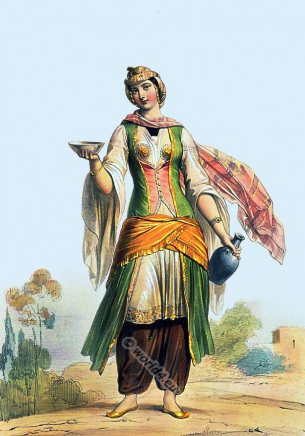 Arabian Druses woman costume. Traditional Druze clothing.