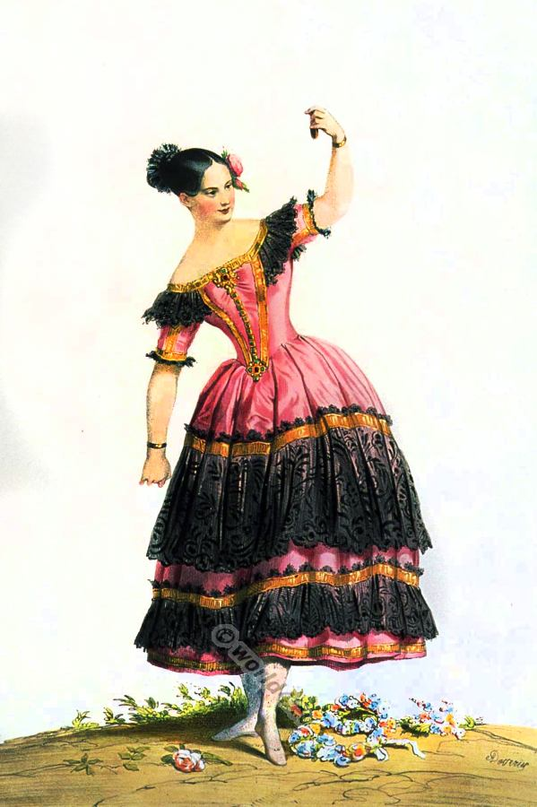 Fanny Elssler in Spanish andalusian dance costume, classical ballet costumes