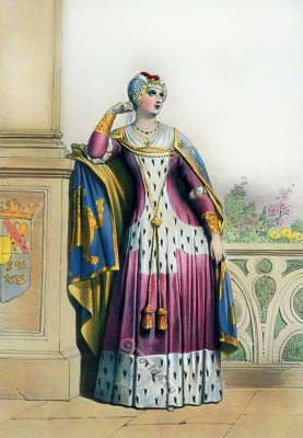 England, court, lady, 14th century, Middle ages, Cotehardie, Dress, clothing