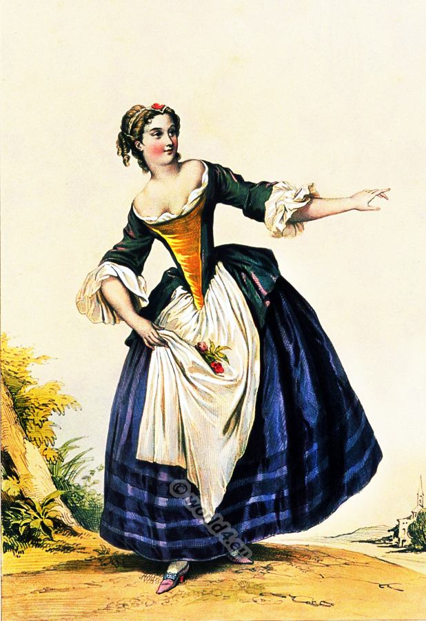 Servant costume. Baroque fashion. 18th century costumes. Fashion history. Costume design.