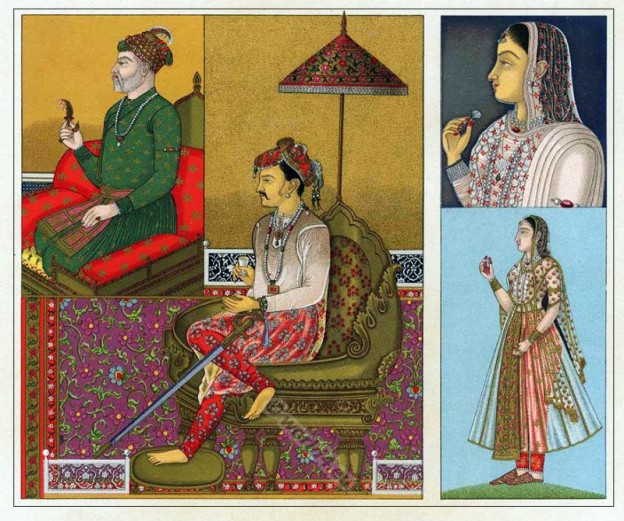 Akabar, costume, Jahangir, India, Mughal, Empire, costumes, Auguste Racinet