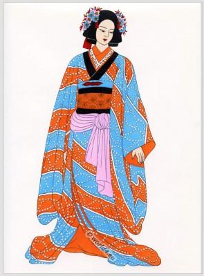 Osaka, Bunrakuza, Japan, costumes, Traditional, dress,