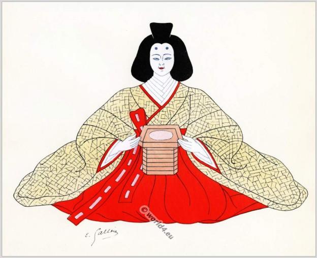 Traditional Japan national costumes. Antique kimono. Japanese Court dress costume.