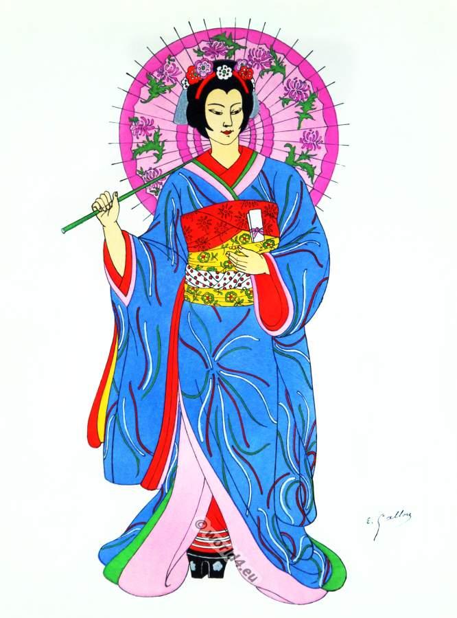 Traditional Japan national costumes. Antique Kyoto kimono. Japanese Geisha costume.