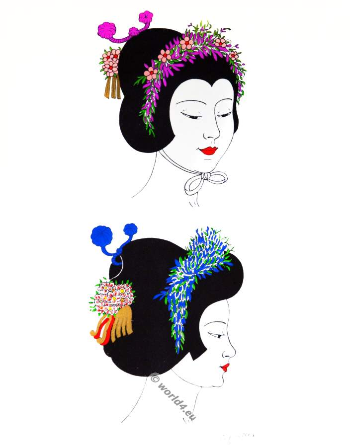 Japan wigs of young girls. Traditional Japan national costumes. Antique kimono. Japanese Geisha hairstyle