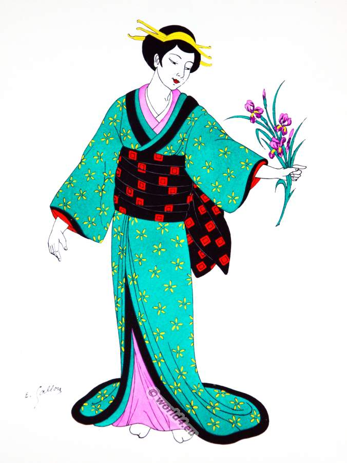 Traditional Japan national costumes. Antique kimono XIX century. Japanese Geisha costume.