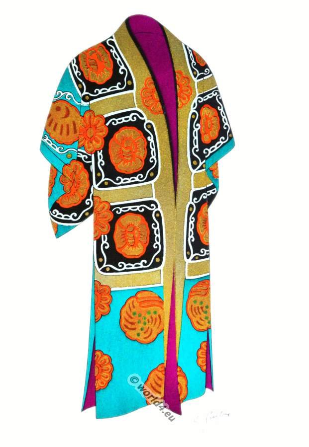 Traditional Japan national costumes. Antique kimono. Japanese Nō theater costume.