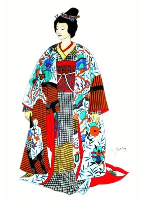 Traditional Japan national costumes. Japan bride in traditional wedding kimono