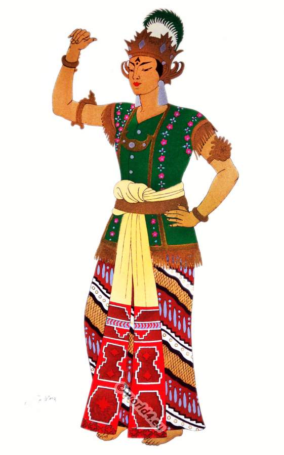 Java Golèk national dance costumes. Javanese Puppet theater costume.